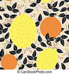 modello, foglie, seamless, arance, limoni, bacche