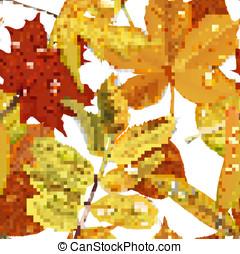 modello, foglie, seamless, background1, autunno, bianco