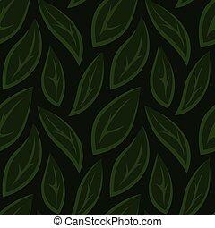 modello, foglie, seamless, stilizzato, verde, floreale