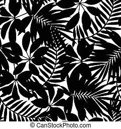 modello, foglie, seamless, tropicale, nero, bianco
