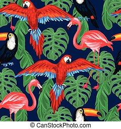 modello, foglie, seamless, tropicale, palma, uccelli