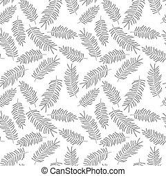 modello, foglie, seamless, tropicale, sfondo nero, bianco