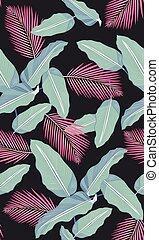 modello, foglie, seamless, tropicale, sfondo nero