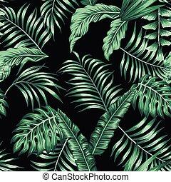 modello, foglie, seamless, tropicale, sfondo verde, nero