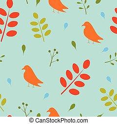 modello, foglie, seamless, uccelli
