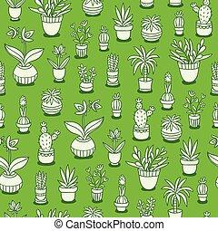 modello, fondo, seamless, piante, verde, casa