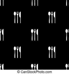 modello, forchetta, coltello, silhouette, seamless, cucchiaio