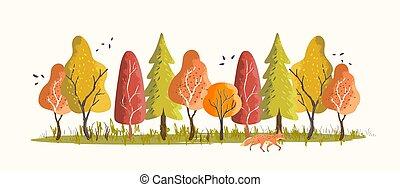 modello, foresta, creativo, terreno boscoso, autunno
