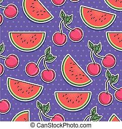 modello, frutte, pezze, seamless
