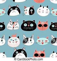 modello, gatti, divertire, ritratti