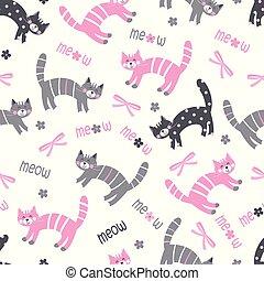 modello, gatti, seamless, carino