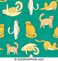 modello, gatti, seamless