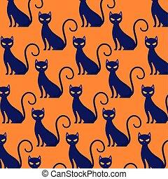 modello, gatto, halloween, nero