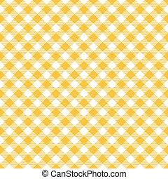 modello gingham, seamless, giallo, diagonale, fondo