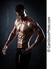 modello, giovane, maschio, atletico, proposta, shirtless,...