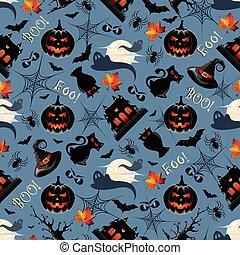 modello, halloween, seamless, fondo