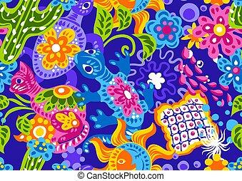 modello, ingenuo, carino, items., messicano, arte