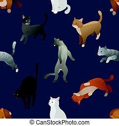 modello, isometrico, seamless, cats., cartone animato