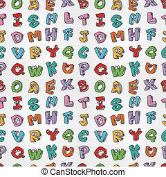 modello, lettere, mostro, seamless