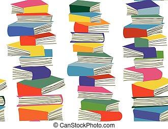 modello, libro, mucchi, seamless