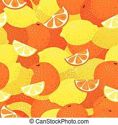 modello, limoni, arance, seamless