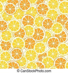 modello, limoni, seamless, arance, fette