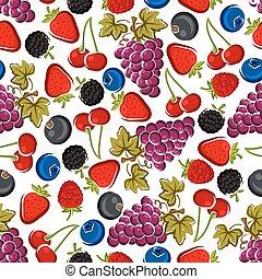 modello, luminoso, bacche, frutte, seamless, succoso