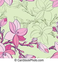 modello, magnolia, seamless, floreale, fiori, disegno