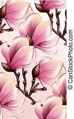 modello, magnolia, seamless