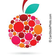 modello, mela, punteggiato, icona