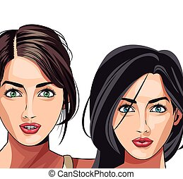 modello, moda, due, bellezza, gils