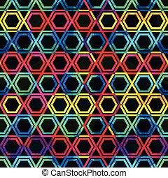 modello, neon, grunge, effetto, mosaico, seamless