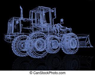 modello, nero, bulldozer, 3d