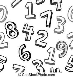 modello, nero-e-bianco, seamless, numeri