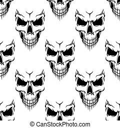 modello, nero, seamless, cranio, pericolo
