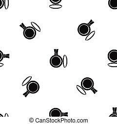 modello, nero, seamless, medaglione
