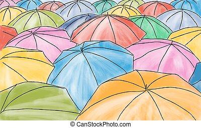 modello, ombrelli, -, colorato, pioggia