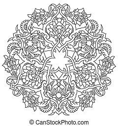modello, ottomano, linee, artistico, seri