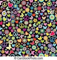 modello, pace, seamless, fiori, cerchi, cuori, segni, butteflies