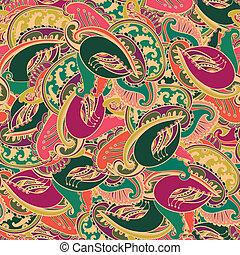 modello, paisley, indiano, colorito, seamless