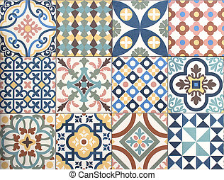 modello, patchwork, tegola decorativa, disegno, colorito