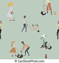 modello, persone, tools:, irrigazione, donne, seamless, pala, piante, carriola, lattina, gardening., lavoro, giardino
