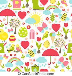 modello, primavera, delicato, carino, seamless
