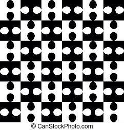 modello, puzzle, bianco, nero, seamless