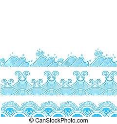 modello, ripetuto, oceano, disegno, onda