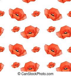 modello, rosso, seamless, illustrazione, papaveri