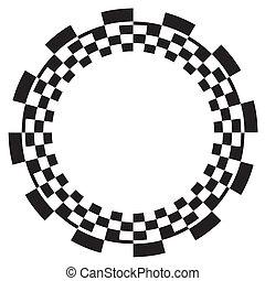 modello, scacchiera, spirale, cornice