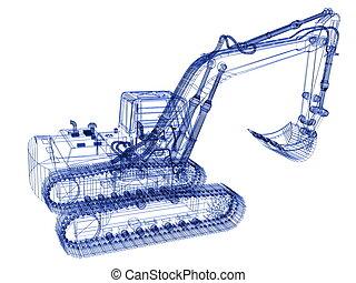 modello, scavatore, 3d
