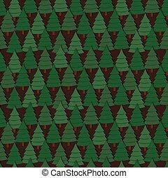 modello, seamless, albero, pino