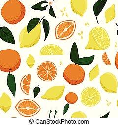 modello, seamless, arance, mano, limoni, disegnato